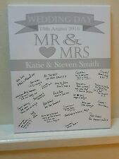 Wedding guest book signing canvas signature a2 size personalised can customise