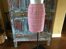 Talbots  lined pencil  career skirt pink and black houndstooth check -PERFECT 8P