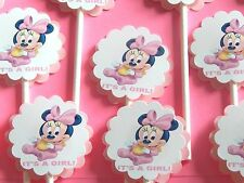 "30 BABY MINNIE MOUSE ""IT'S A GIRL"" Cupcake Toppers Party Favors, Baby Shower 30"