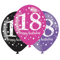 6 x 18th Birthday Balloons Black Pink Lilac Party Decorations Age 18 Balloons