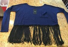 Navy Blue Fringe Crop Top Shirt Juniors Sweater NEW NWT Size SMALL Off-Shoulder