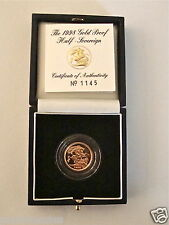 1998 ROYAL MINT ST GEORGE SOLID 22K GOLD PROOF HALF SOVEREIGN COIN BOX COA