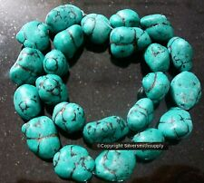 Large turquoise nuggets. dyed magnesite black matrix 16 in strand 12-20mm bs297
