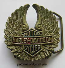 Harley Davidson B&S Wings Solid Brass Vintage Baron H-501 Belt Buckle.