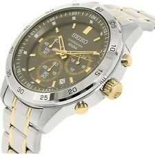 Seiko SKS525 Men's Two Tone Stainless Steel Dial Casual Chronograph Sports Watch
