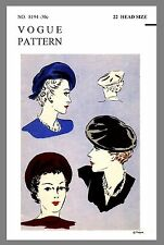 Vintage Vogue Millinery Beret Hat Fabric material sewing pattern # 8194