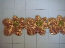"1 3/4"" Golden Bronze Sequins and Gold  Flower Applique Trim By the Yard Sequin"