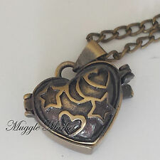 Bronze heart locket charm pendent necklace. witch magical trinket box keep safe