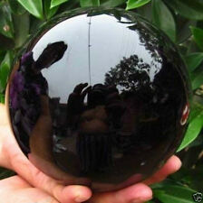 HOT SELL OBSIDIAN POLISHED BLACK CRYSTAL SPHERE BALL 100MM +STAND