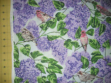 QUILT, SEW, Fabric - Northcott State Bird - Purple Finch & Lilacs - NH