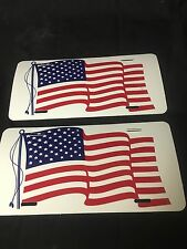 2 USA AMERICAN FLAG LICENSE PLATE  TAG for Car, Truck