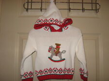 Hartstrings Cable Knit Hooded Sweater Christmas Rocking Horse 12 Months NWT