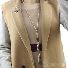 Women's Gold Pleated Tassel Pendant Long Chain Sweater Necklace Charms Jewelry
