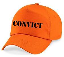 CONVICT Printed Baseball Cap Orange Funny Joke Fancy Dress Costume Novelty