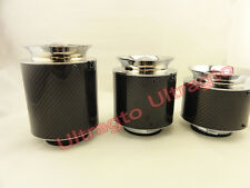 """UNIVERSAL 3"""" INCH 76MM COLD AIR INTAKE FILTER CLAMP CHROME & CARBON FIBER LOOK"""