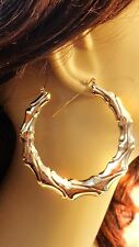 LARGE HOOP EARRINGS FULL SWIRL BAMBOO HOOP EARRINGS 3 INCH HOOP EARRINGS LIGHT
