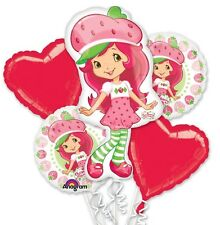Strawberry Shorcake Birthday Party Favor Supplies 5CT Foil Balloons Bouquet