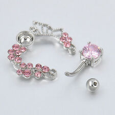 Pink butterfly belly ring top down navel piercing reverse 14G flower LWCA