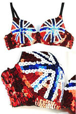 Sexy Union Jack Sequin Detail Push up Bra Clubwear Glamor Dancer Burlesque M