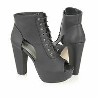 Truffle Ladies Ankle Cut Out High Heel Peeptoe Boots