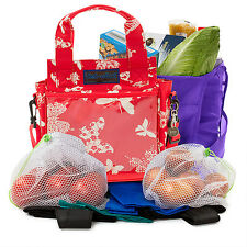 ECO2 Trolley-Dolly Shopping Kit - 8 Bags in 1 - Butterfly Red/Cream