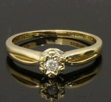 9Ct Yellow Gold Diamond (0.005ct) Solitaire Ring (Size M)