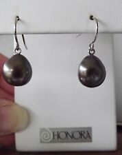 HONORA PEARL PEACOCK 9MM BAROQUE DANGLE PEARL EARRINGS STERLING SILVER NEW