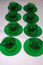 EMERALD GREEN GLASS~8 CUPS/SAUCER SETS