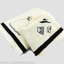 2-Pc Parisienne Chic Bath Towel Set Cotton Ivory Black Pink French Dress Hat Bag