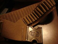 "Replica 1880s US Army 45-70 Tan Web Cartridge Belt w/ U.S. ""H"" Brass Buckle"
