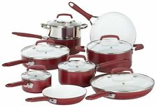 NEW! WearEver Pure Living Nonstick Ceramic Coating Cookware Set, 15 Piece, (Red)