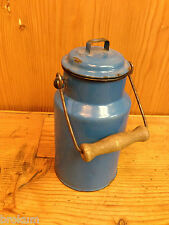 Blue Enamelware Covered Cream Can with Wood Bail Handle ~ Vintage