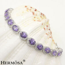 75% OFF Exquisite Purple Amethyst & White Topaz 925 Sterling Silver Bracelets 7""