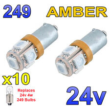 10 x Amber 24v LED Side Light 249 BA9s T4W 5 SMD Bayonet Bright Bulbs HGV Truck