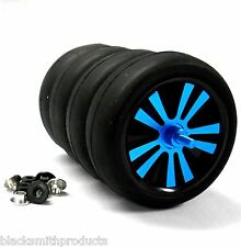 WLS-0002BUS 1/10 Scale Car Wheels Tyres Alloy Stylish Spinning Rims x 4 Blue