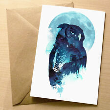 Midnight Owl – Blank Art Birthday/Greetings Card – Cool Quirky Blue Moon 4 for 3