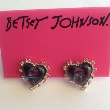 Betsey Johnson Red Kiss Black Heart Earrings