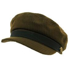 Unisex Greek Fisherman Sailor Fiddler Driver Woven Hat Flat Sun Cap Olive S/M