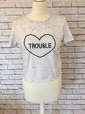 Cute Top Shop Trouble T Shirt Top UK Size 12 Spring Summer