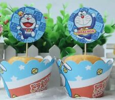 12 pcs Doraemon Cupcake Toppers + Wrappers. Party Supplies Jelly Cup