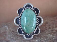 Navajo Indian Jewelry Nickel Silver Green Turquoise Ring Size 9, Glen Nez