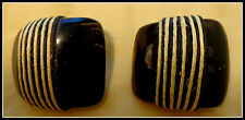 Vintage Earrings Art Deco Black and White Clip On Artsy Fun & Fabulous