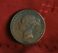 1858 Great Britain Penny Copper World Coin Seated Uk England Trident