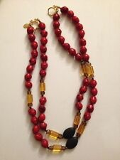 Wendy Gell Beaded Necklace with Red Black Amble Color Bead (G191)