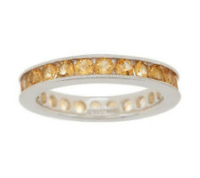 1.45 ct tw Citrine Eternity Sterling Silver Ring Size 5 QVC