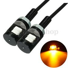 2x Amber 2 LED Universal Motorcycle Car License Plate Bolt Screw Light Lamp Bulb