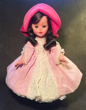 "Vintage 17"" Furga Doll Tagged Pink Hoop Dress Made In Italy Brunette Long Lashes"