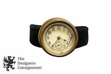 """Small Antique Brass Clock Face + Case For Parts Nautical 2.25"""" Analog"""
