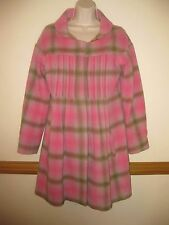Anthropologie ODD MOLLY Lumberette WOOL COAT Pink Olive Plaid Silk Sz 2 (US 6-8)