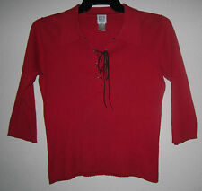 CITY DKNY Red Knit Ribbed Stretch 3/4 Sleeve Crop Boho Tie Sweater Top Shirt M